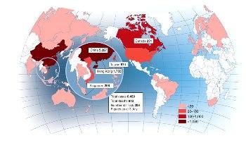 Patrón de una epidemia. Mapa epidemiológico del SRAS hasta el 3 de julio del 2003. Imagen: Revista Nature