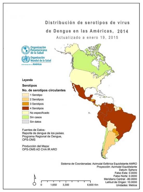 2014 serotipos mapa dengue américa OPS