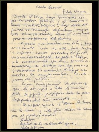 Original de los Apuntes de Lectura de Canto General.