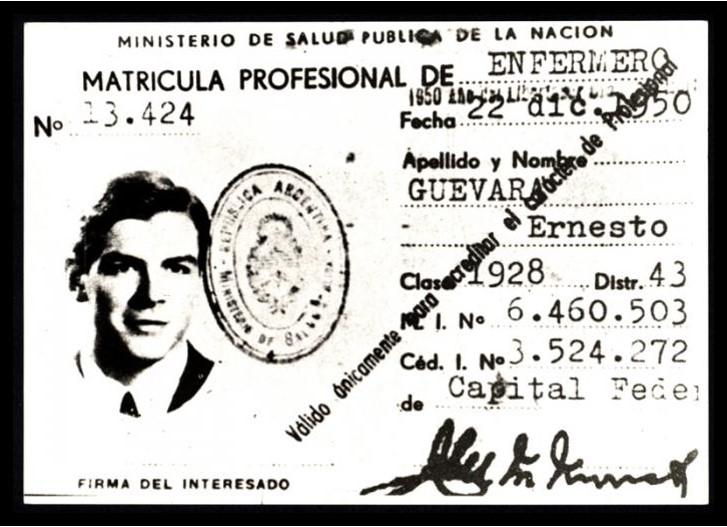 Carné profesional del Che en México.