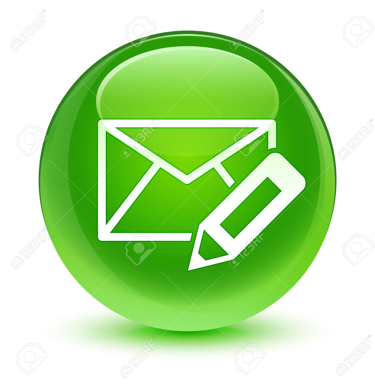 Edit email icon glassy green button