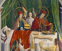 A Verger's Dream: Saints Cosmas and Damian Performing a Miraculous Cure by Transplantation of a Leg. Master of Los Balbases (1495)
